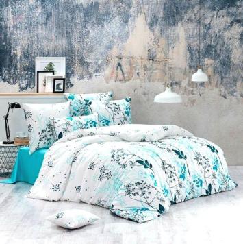 BedTex Bavlnené obliečky Blommor tyrkysová